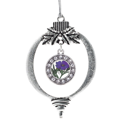 Violet Flower Circle Charm Christmas / Holiday Ornament