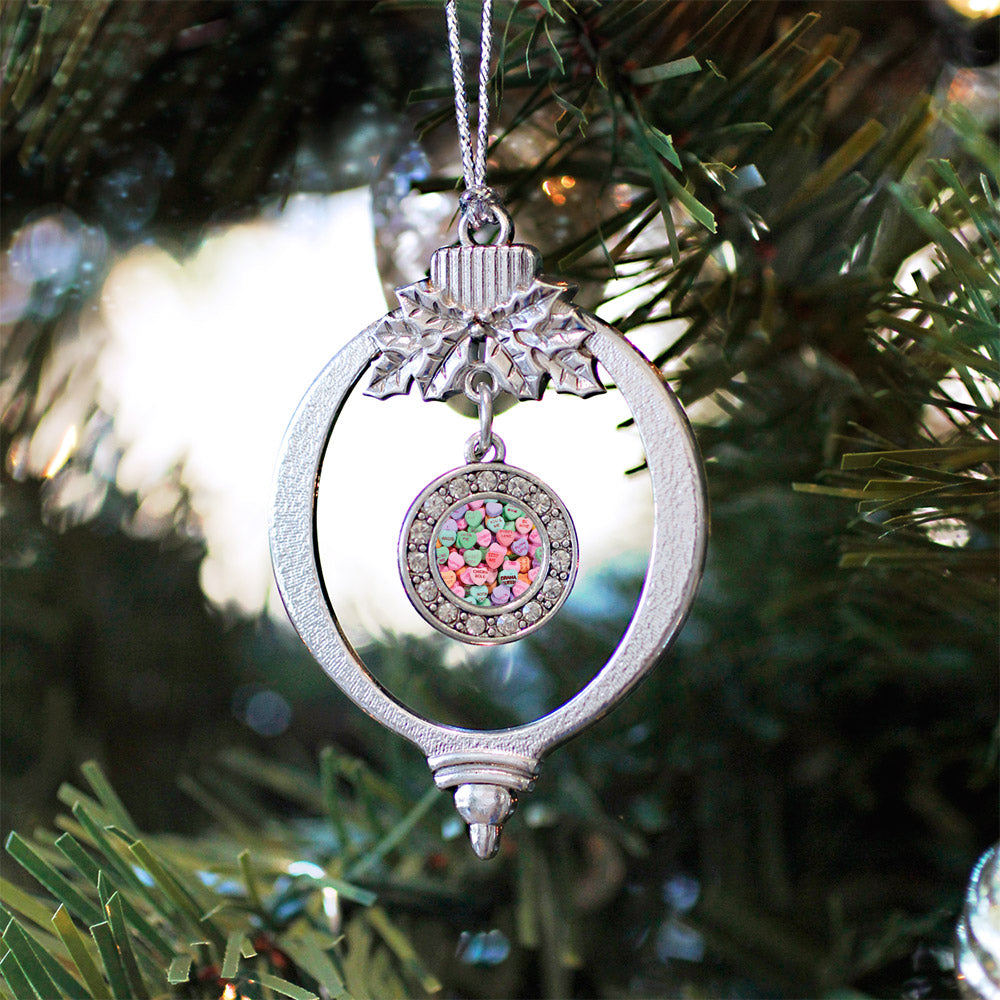 Candy Hearts Circle Charm Christmas / Holiday Ornament