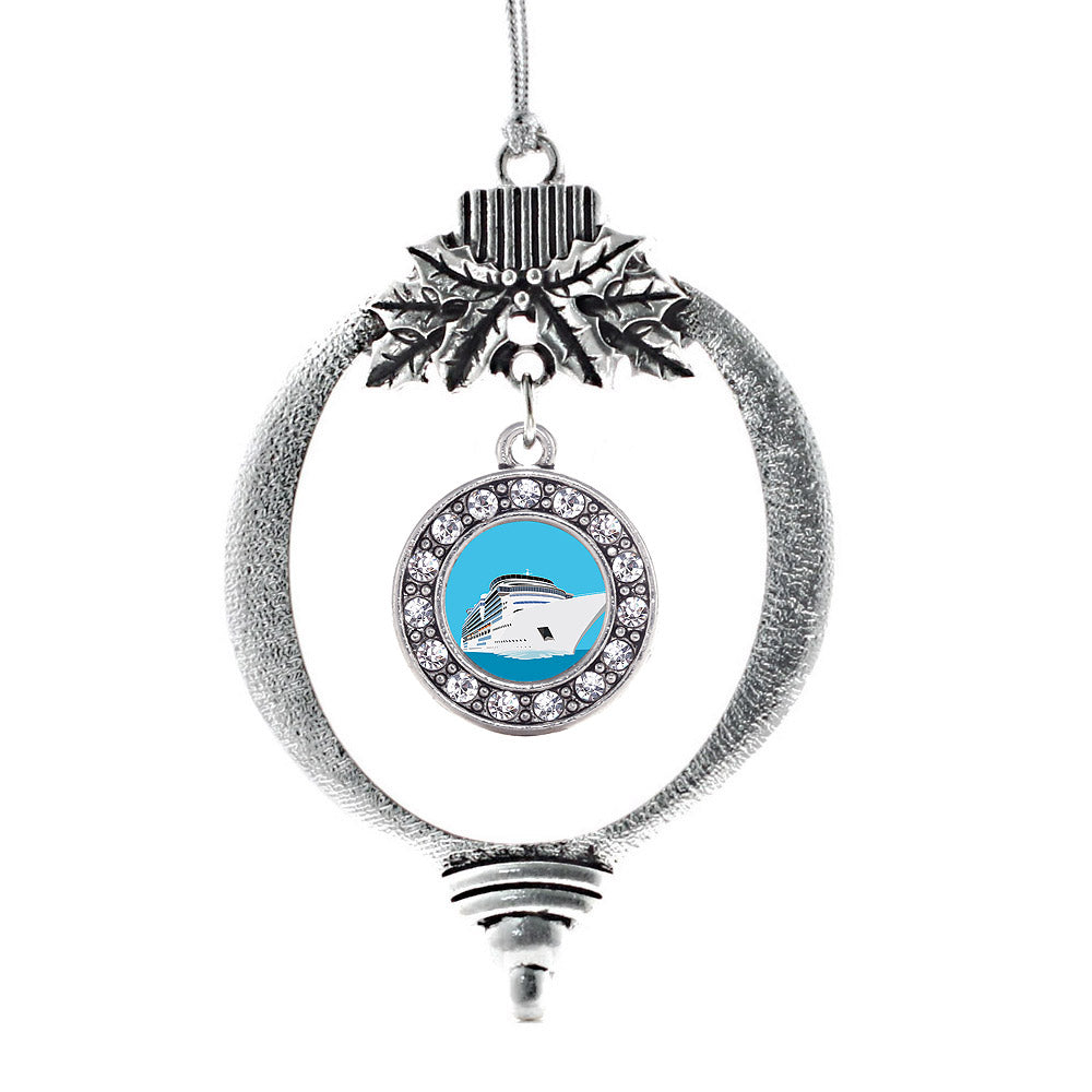 Bon Voyage Cruise Ship Circle Charm Christmas / Holiday Ornament