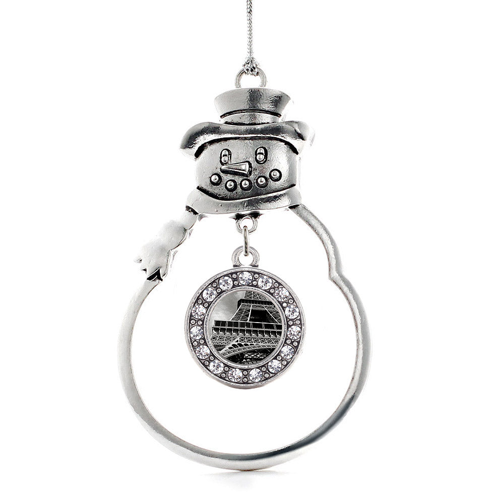 Black and Grey Eiffel Tower Circle Charm Christmas / Holiday Ornament