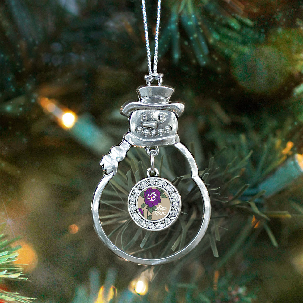 Step Mom Pansy Circle Charm Christmas / Holiday Ornament