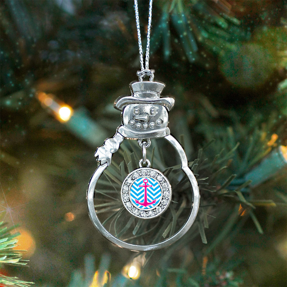 Blue Chevron Pink Anchor Circle Charm Christmas / Holiday Ornament
