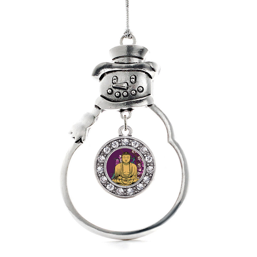 Buddha And Cherry Blossoms Circle Charm Christmas / Holiday Ornament