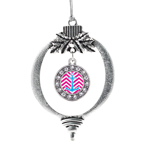 Pink Chevron Blue Anchor Circle Charm Christmas / Holiday Ornament