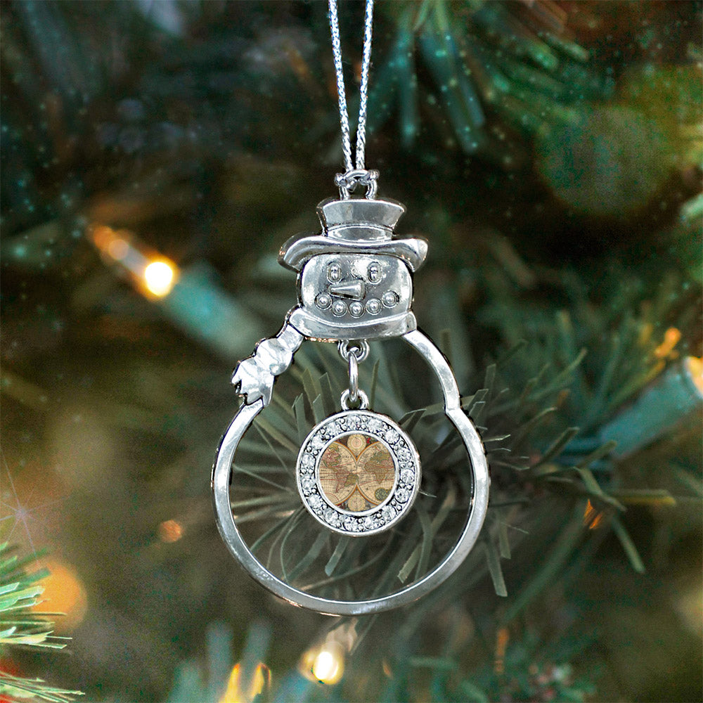 Vintage Map Circle Charm Christmas / Holiday Ornament