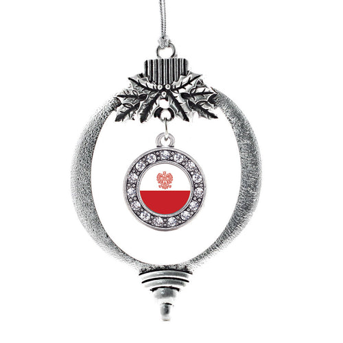 Polish Flag Circle Charm Christmas / Holiday Ornament