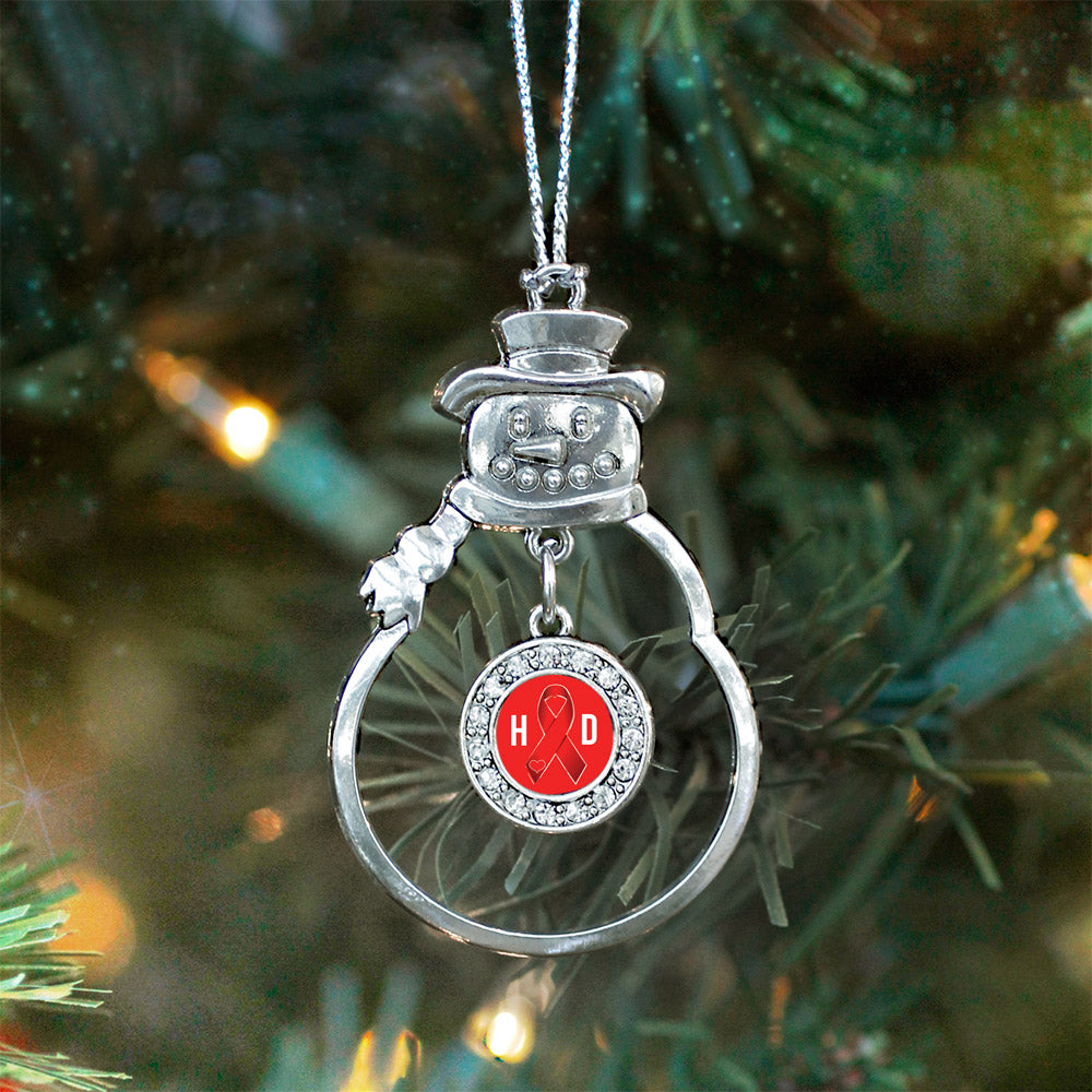 Heart Disease Awareness Ribbon Circle Charm Christmas / Holiday Ornament