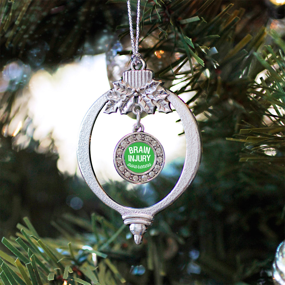 Brain Injury Awareness Circle Charm Christmas / Holiday Ornament