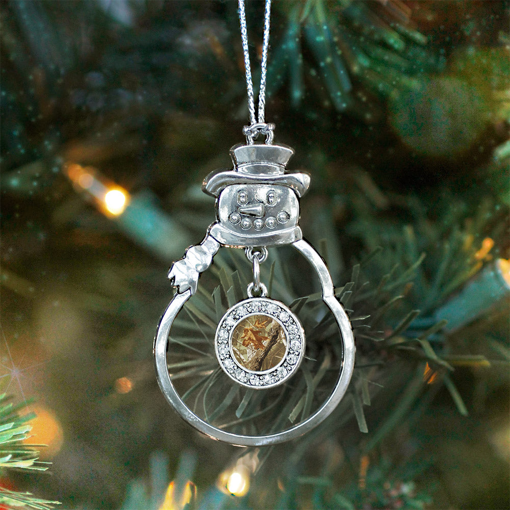 Brown Hunting Pattern Circle Charm Christmas / Holiday Ornament