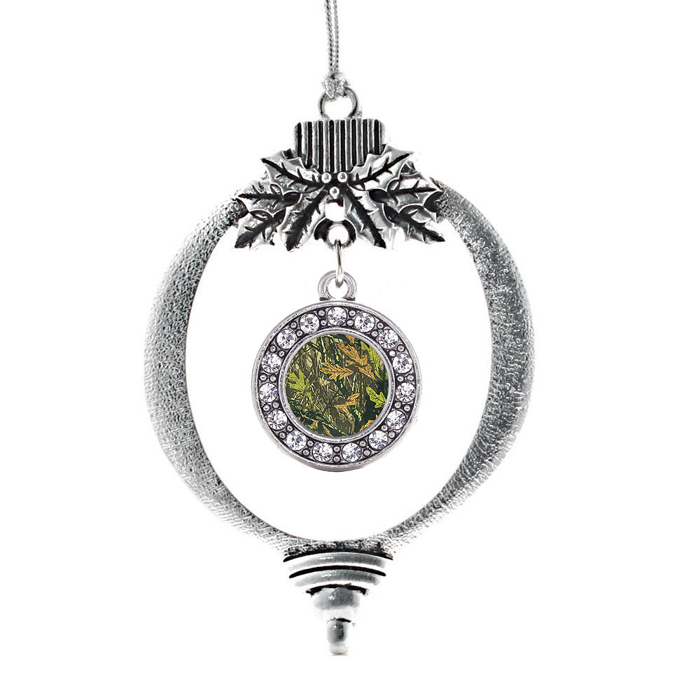 Green Hunting Pattern Circle Charm Christmas / Holiday Ornament