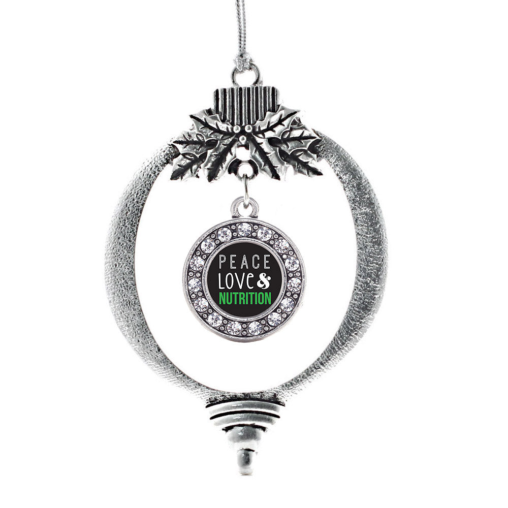 Peace, Love, and Nutrition Circle Charm Christmas / Holiday Ornament