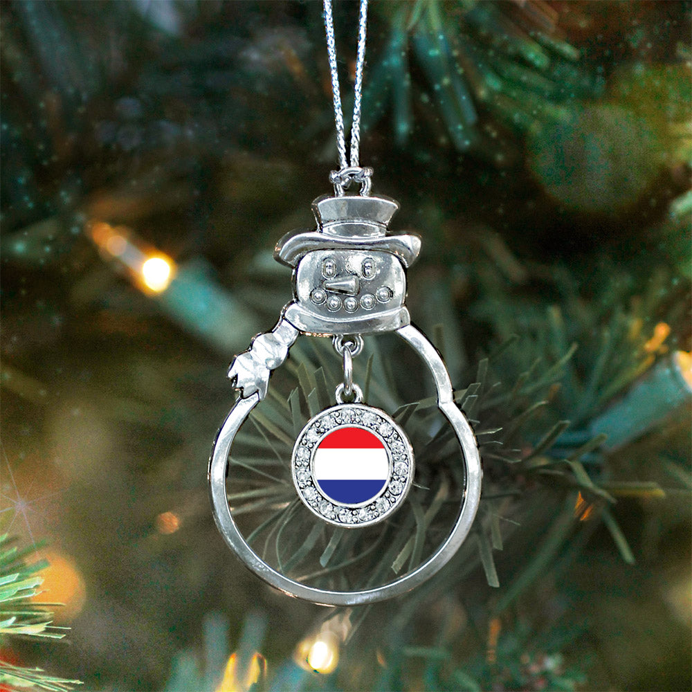Netherlands Flag Circle Charm Christmas / Holiday Ornament