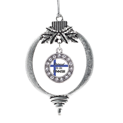 Proud to be Finnish Circle Charm Christmas / Holiday Ornament