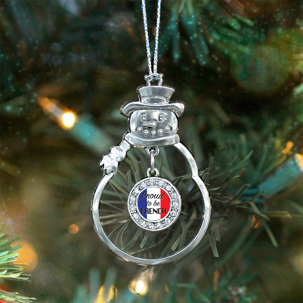 Proud to be French Circle Charm Christmas / Holiday Ornament