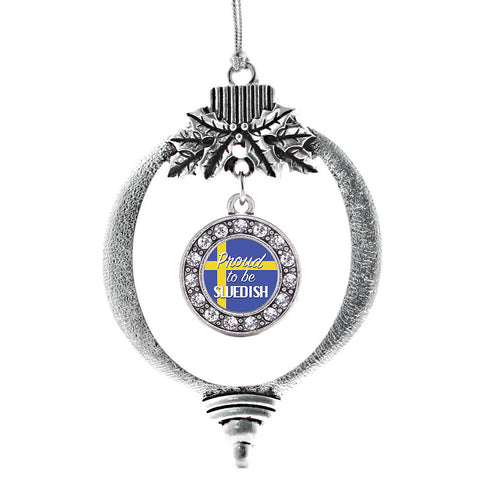 Proud to be Swedish Circle Charm Christmas / Holiday Ornament