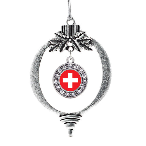 Switzerland Flag Circle Charm Christmas / Holiday Ornament