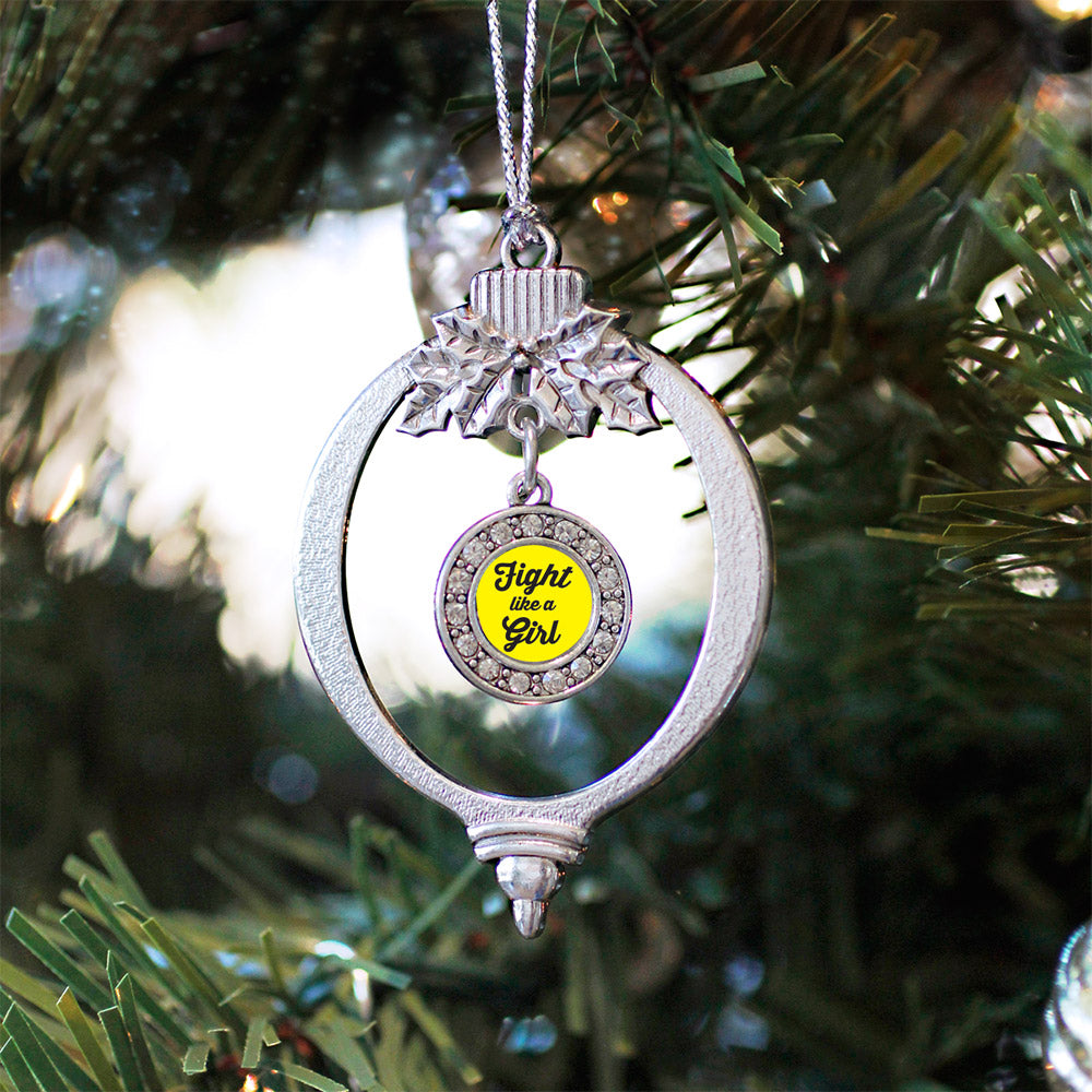 Fight Like A Girl Yellow Ribbon Circle Charm Christmas / Holiday Ornament