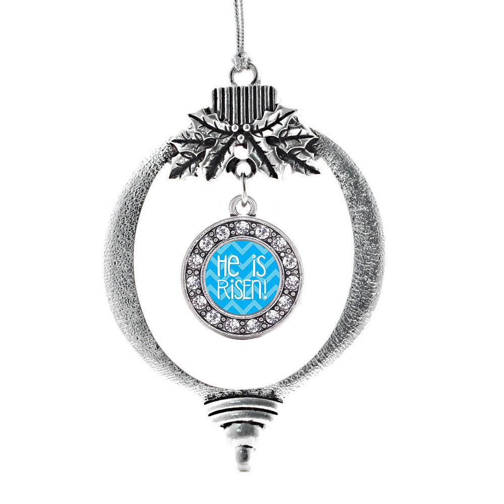 He is Risen Blue Chevron Patterned Circle Charm Christmas / Holiday Ornament