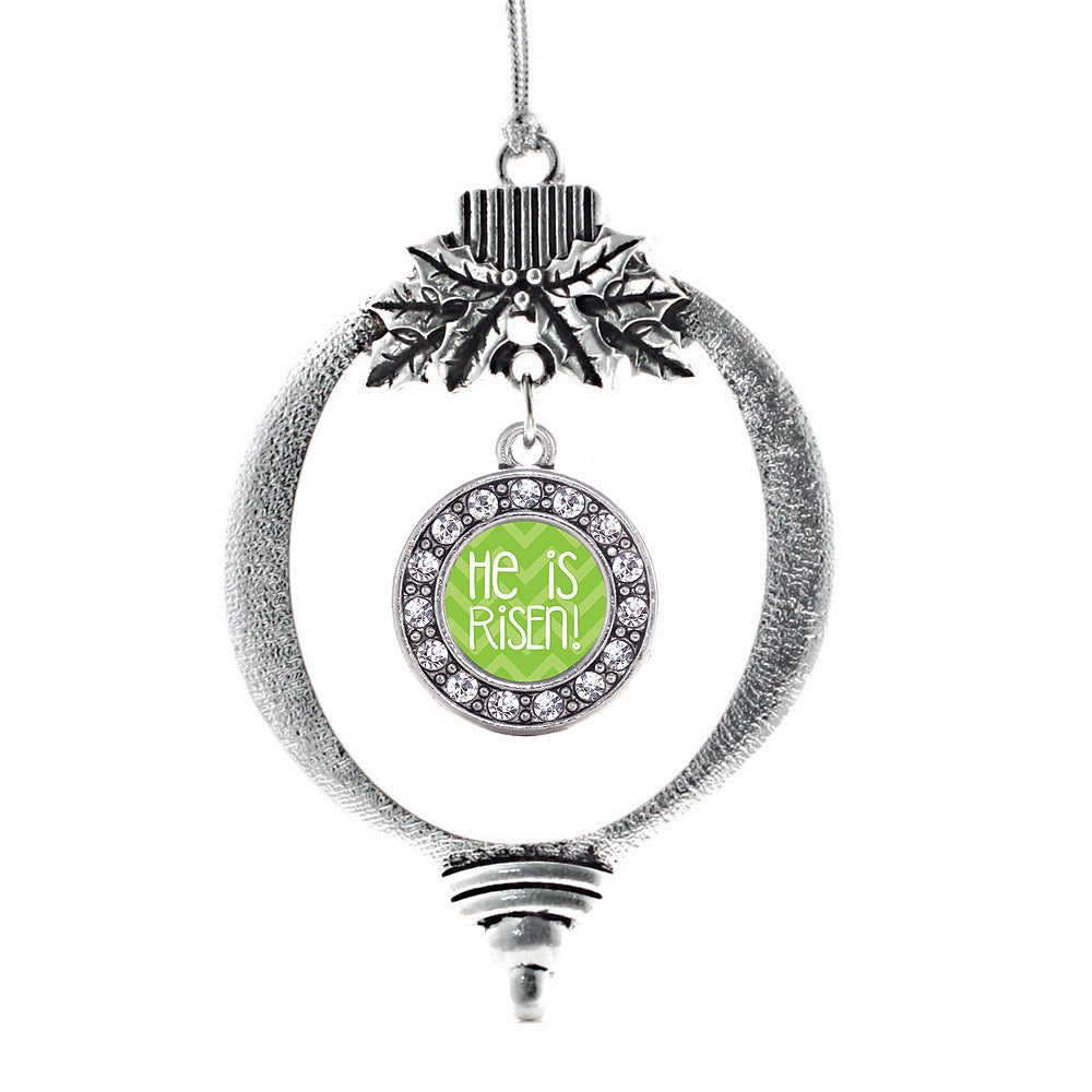 He is Risen Green Chevron Patterned Circle Charm Christmas / Holiday Ornament