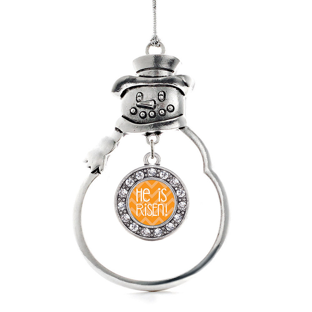 He is Risen Orange Chevron Patterned Circle Charm Christmas / Holiday Ornament