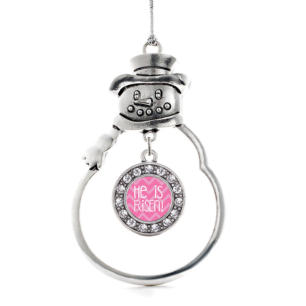 He is Risen Pink Chevron Patterned Circle Charm Christmas / Holiday Ornament