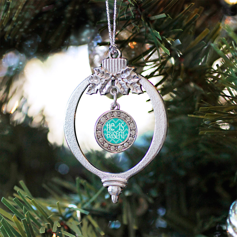 He is Risen Teal Chevron Patterned Circle Charm Christmas / Holiday Ornament