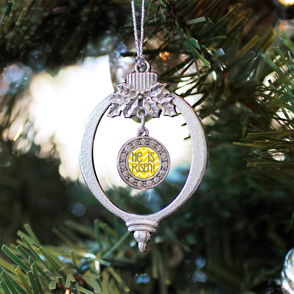 He is Risen Yellow Chevron Patterned Circle Charm Christmas / Holiday Ornament