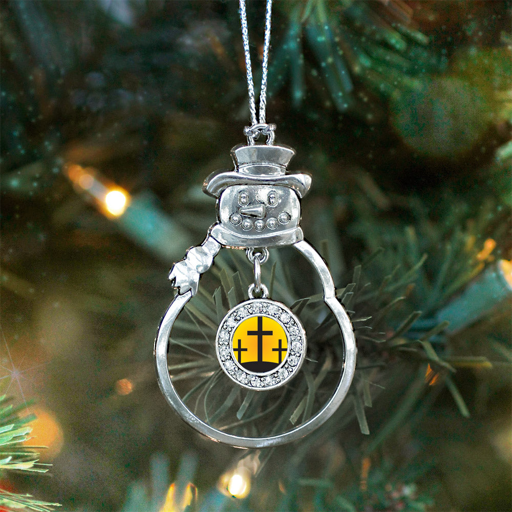 Three Crosses Circle Charm Christmas / Holiday Ornament