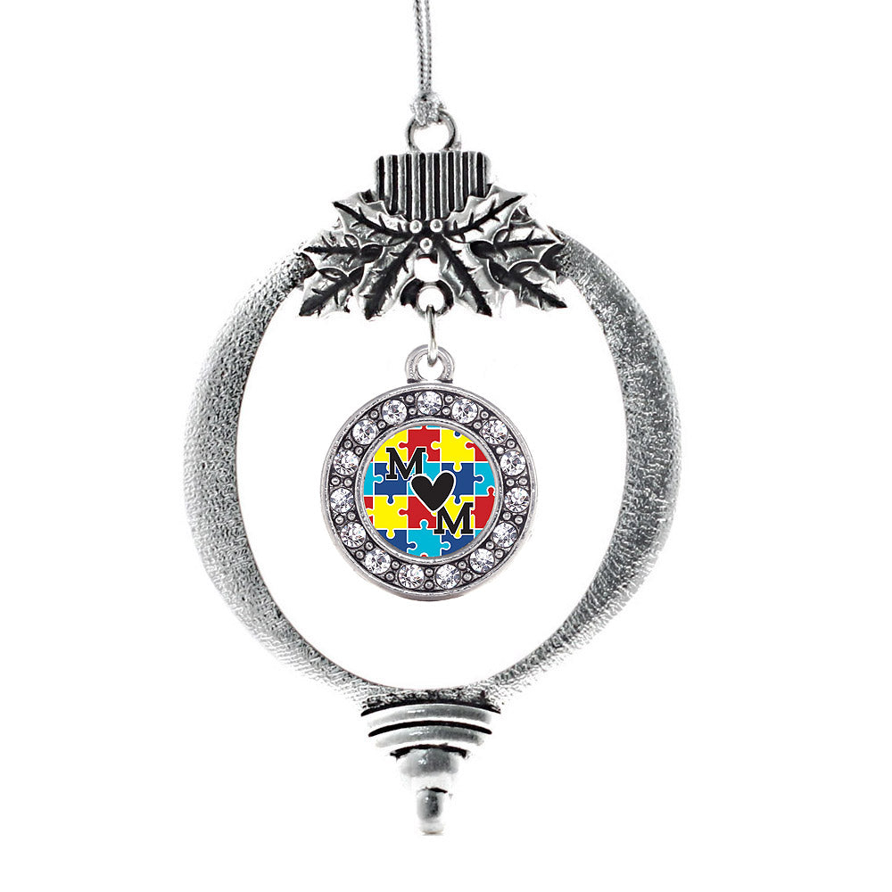 Autism Mom Circle Charm Christmas / Holiday Ornament