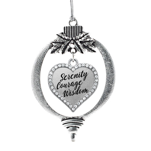 Serenity Prayer Open Heart Charm Christmas / Holiday Ornament