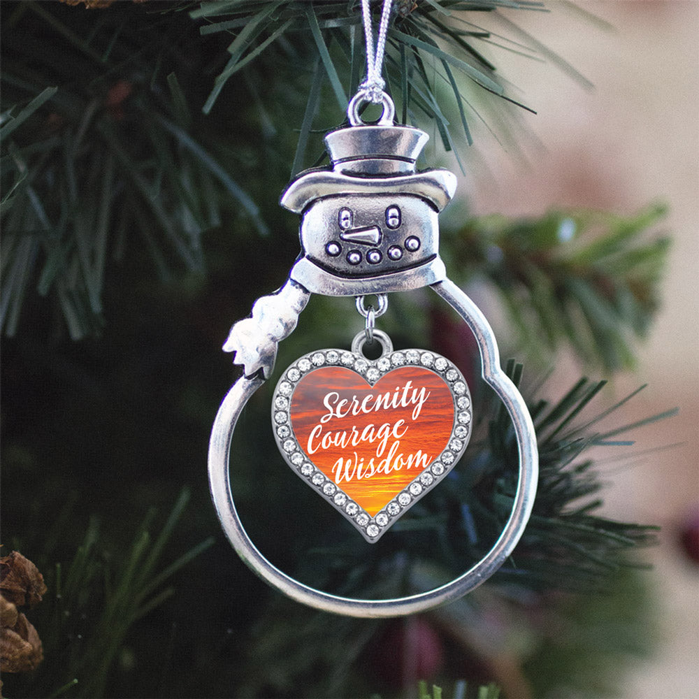 Sunset Serenity Prayer Open Heart Charm Christmas / Holiday Ornament
