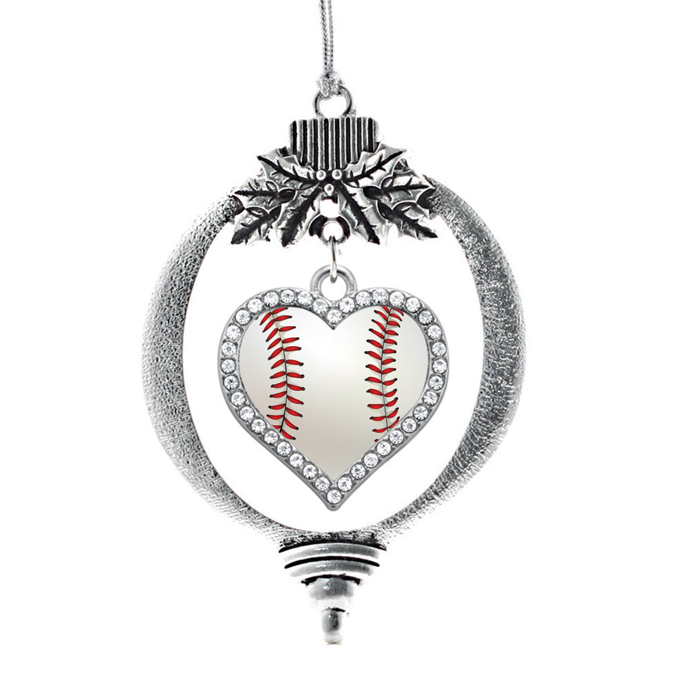 Baseball Open Heart Charm Christmas / Holiday Ornament