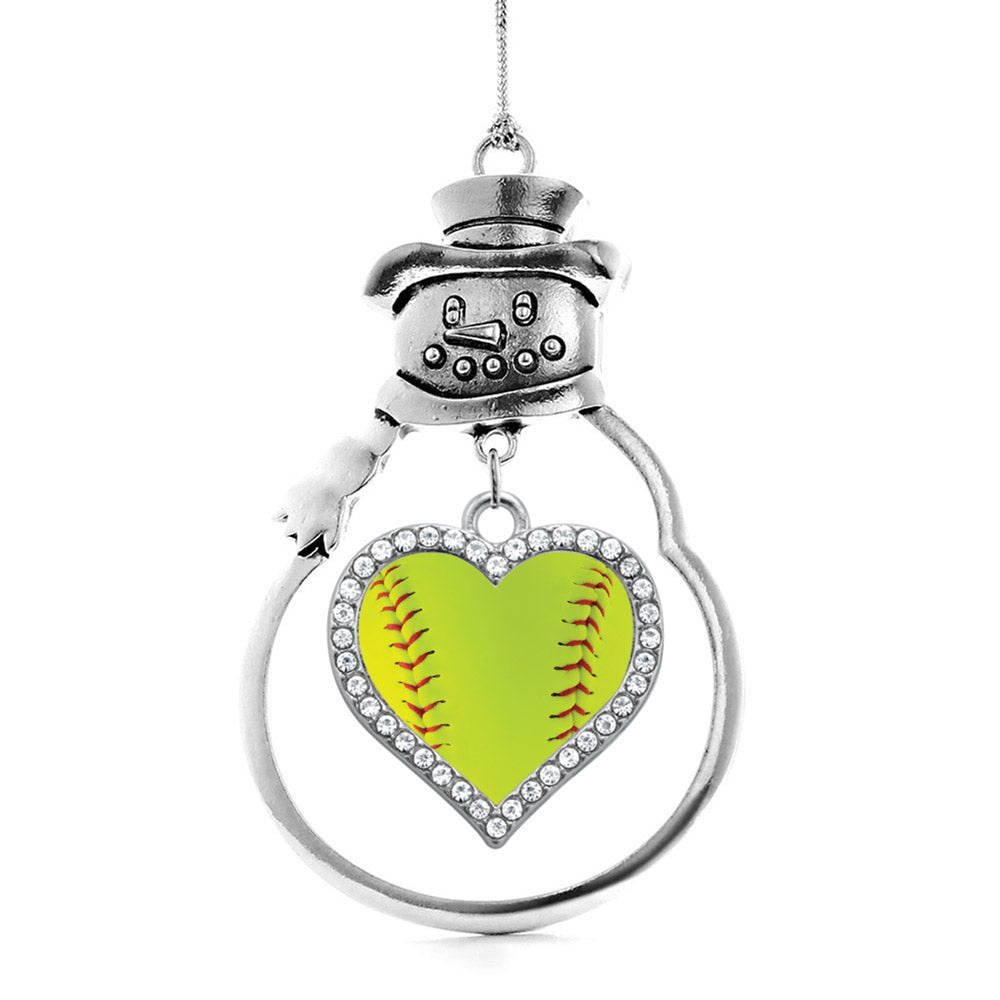 Softball Open Heart Charm Christmas / Holiday Ornament