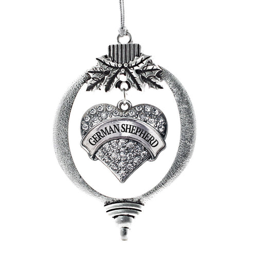 German Shepherd Pave Heart Charm Christmas / Holiday Ornament