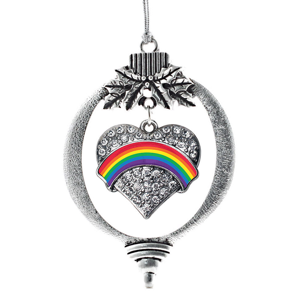 LGBT Pride Pave Heart Charm Christmas / Holiday Ornament