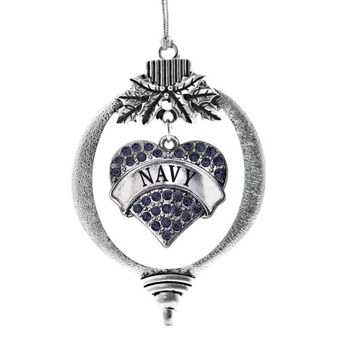 Navy Pave Heart Charm Christmas / Holiday Ornament