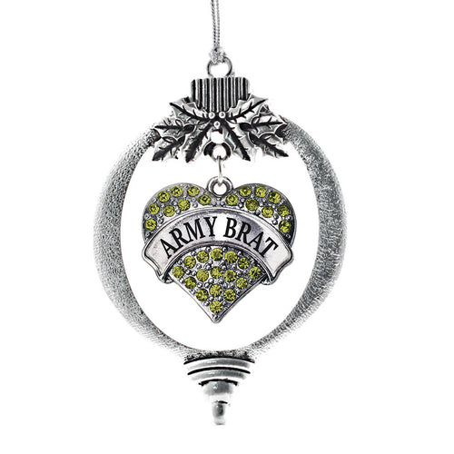 Army Brat Pave Heart Charm Christmas / Holiday Ornament