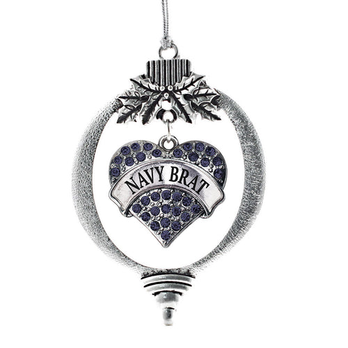Navy Brat Pave Heart Charm Christmas / Holiday Ornament