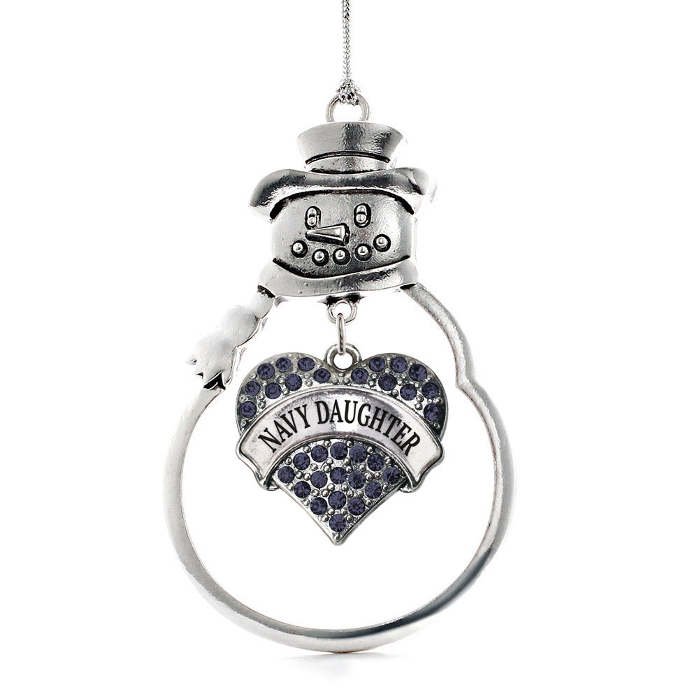 Navy Daughter Pave Heart Charm Christmas / Holiday Ornament