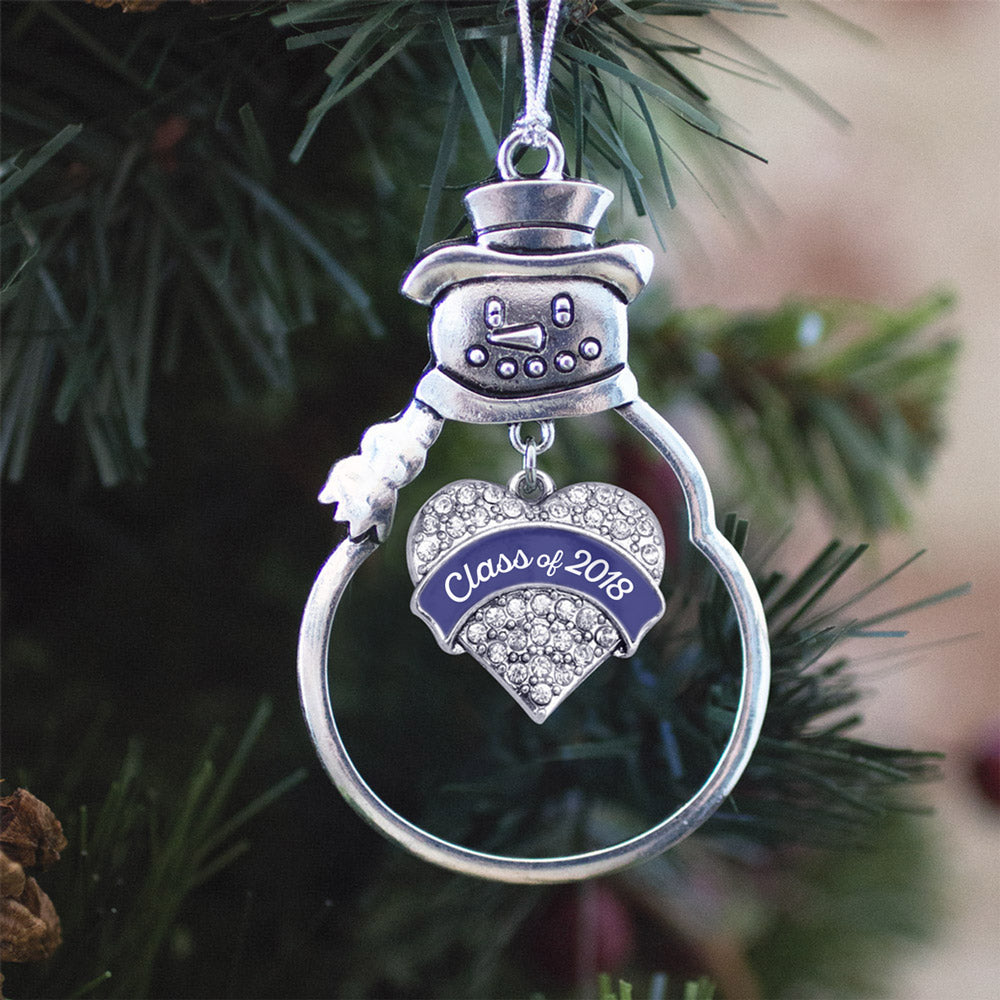 Navy Blue Class of 2018 Pave Heart Charm Christmas / Holiday Ornament