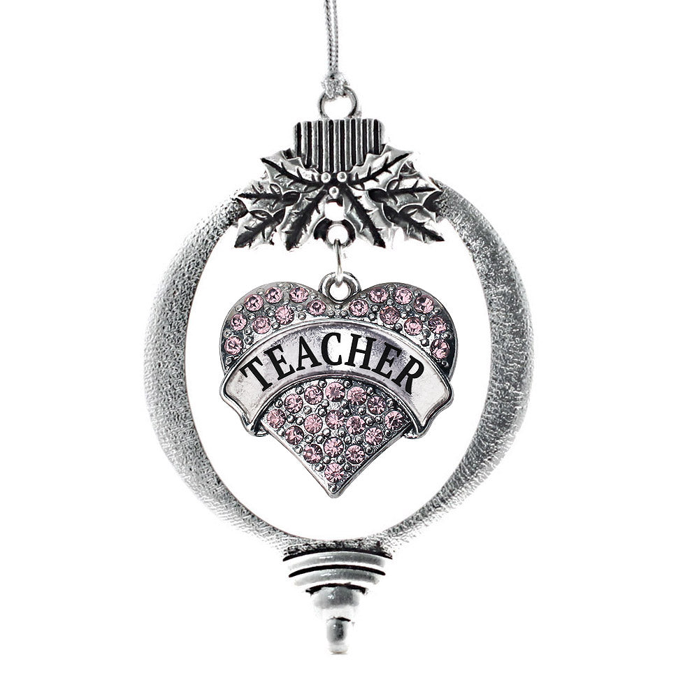 Teacher Pink Pave Heart Charm Christmas / Holiday Ornament