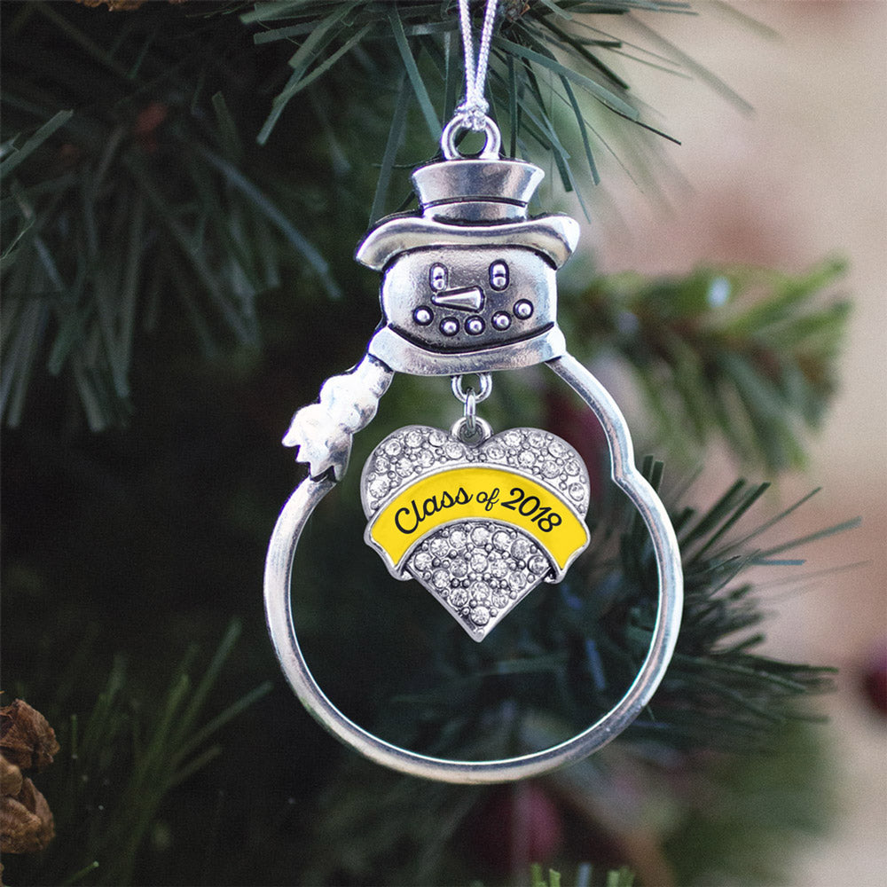 Yellow Class of 2018 Pave Heart Charm Christmas / Holiday Ornament