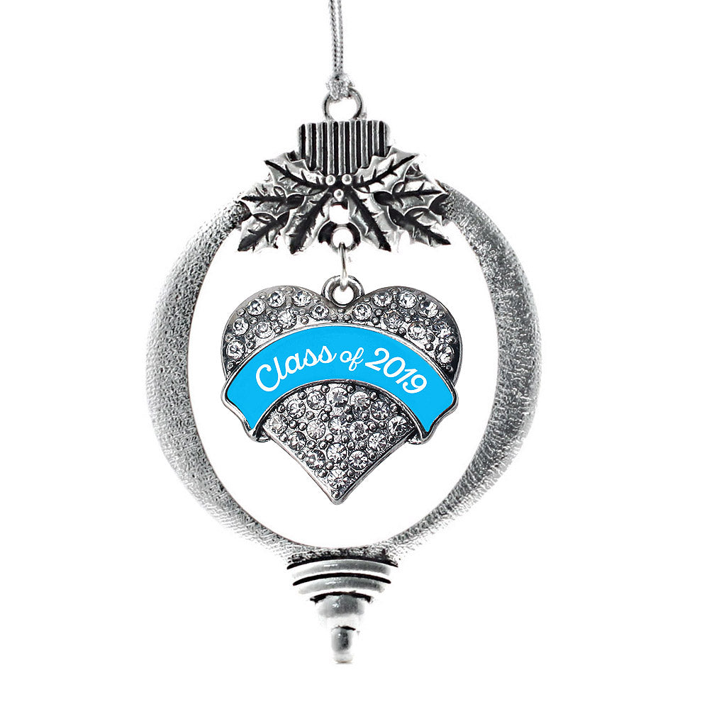 Blue Class of 2019 Pave Heart Charm Christmas / Holiday Ornament