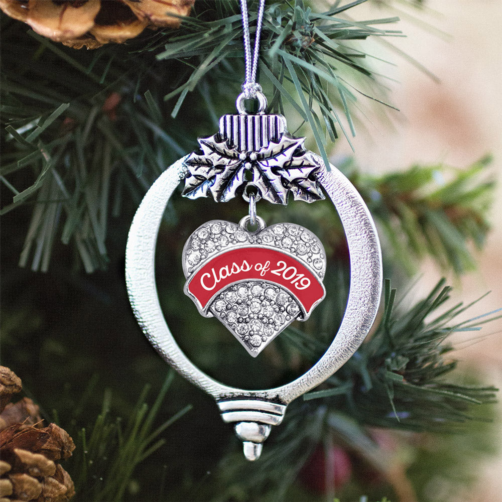 Red Class of 2019 Pave Heart Charm Christmas / Holiday Ornament