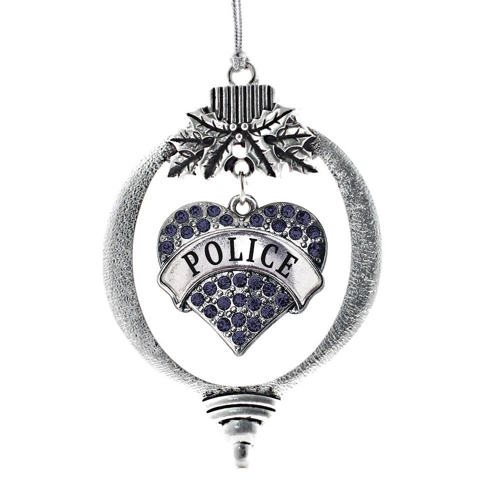 Police Pave Heart Charm Christmas / Holiday Ornament
