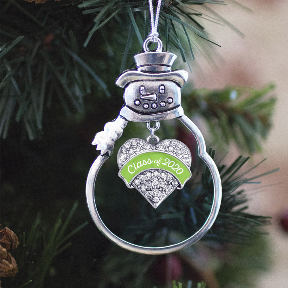 Lime Green Class of 2020 Pave Heart Charm Christmas / Holiday Ornament