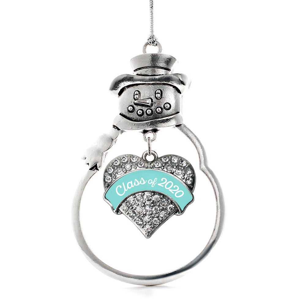 Teal Class of 2020 Pave Heart Charm Christmas / Holiday Ornament