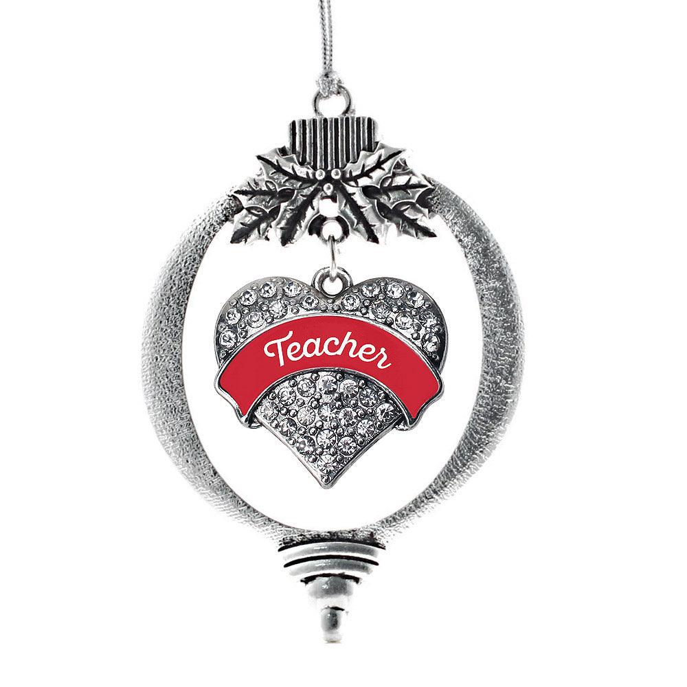 Red Teacher Pave Heart Charm Christmas / Holiday Ornament