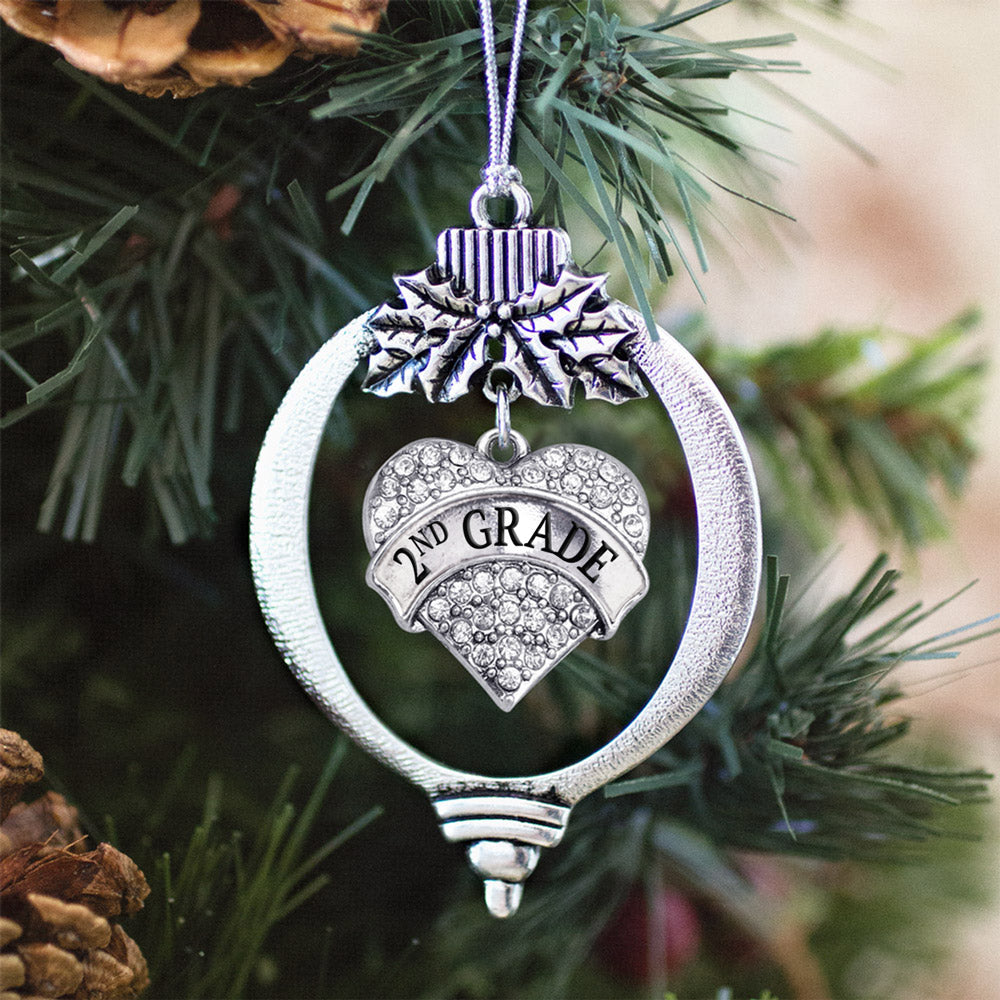 2nd Grade Pave Heart Charm Christmas / Holiday Ornament