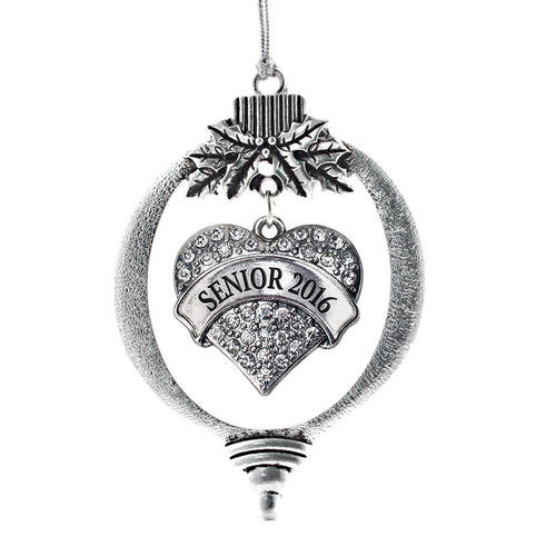 Senior 2016 Pave Heart Charm Christmas / Holiday Ornament